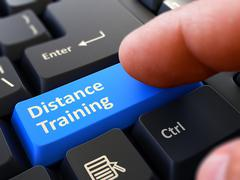 Distance Training - Clicking Blue Keyboard Button - stock illustration