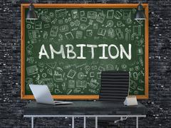 Ambition on Chalkboard with Doodle Icons Stock Illustration