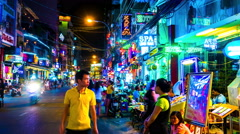 Static view of the busy night life in Hi Chi Minh City - stock footage
