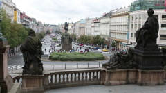 View from steps of the national museum on Wenceslas Square Vaclavske namesti in Stock Footage