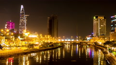 Horizontal panning view of the river in Ho Chi Minh City at night Stock Footage