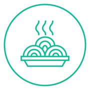 Hot meal in plate line icon Stock Illustration