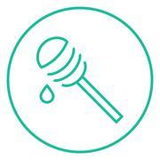 Honey dipper line icon Stock Illustration