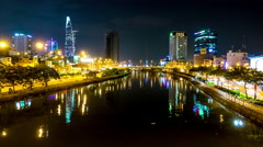 Static view of the river in Ho Chi Minh City at night Stock Footage