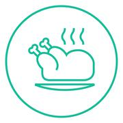 Baked whole chicken line icon - stock illustration