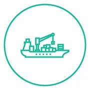 Stock Illustration of Cargo container ship line icon