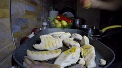 Tasty Chicken White Meat Cooking on Hot Griddle Pan - Time Lapse Stock Footage