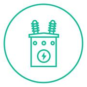 High voltage transformer line icon Stock Illustration