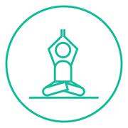 Man meditating in lotus pose line icon Stock Illustration