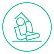 Stock Illustration of Man practicing yoga line icon