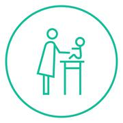 Stock Illustration of Woman taking care of baby line icon