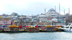Static view of the busy riverside and the Hagia Sophia in lstanbul Stock Footage