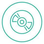 Reel tape deck player recorder line icon - stock illustration