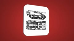 Vector Map intro - Army Tank  - Transition Blueprint - red 01 - stock footage