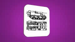 Vector Map intro - Army Tank  - Transition Blueprint - purple 01 Stock Footage