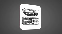 Vector Map intro - Army Tank  - Transition Blueprint - grey 01 - stock footage