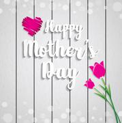 Mothers Day vector greeting card - stock illustration