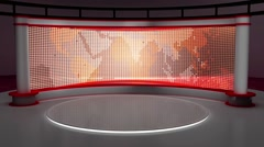 Stock Video Footage of News TV Studio Set 147-Virtual Green Screen Background Loop