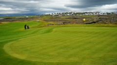 A golf course in Iceland Stock Footage