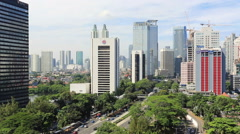 Jakarta day time lapse in business district Stock Footage