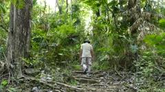 Men hiker trekking in the forest. Stock Footage