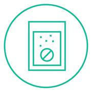 Tablet into glass of water line icon Stock Illustration