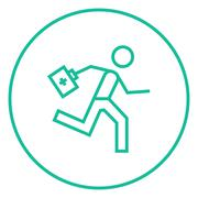 Paramedic running with first aid kit line icon - stock illustration
