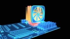 CPU cooling system, heat sink Stock Footage