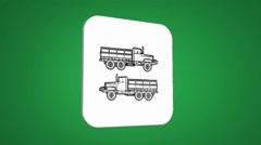 Vector Map intro - Farmer Truck - Transition Blueprint - green 01 Stock Footage