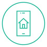 Property search on mobile device line icon - stock illustration