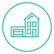 House with garage line icon - stock illustration
