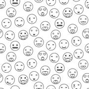 Outline round smile emoji seamless pattern. Emoticon icon linear style vector Stock Illustration