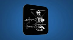 Vector Map intro - Police Helicopter - Transition Blueprint - blue 02 Stock Footage