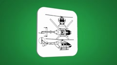 Vector Map intro - Police Helicopter - Transition Blueprint - green 01 Stock Footage