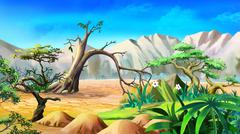 African Landscape in a Summer Day. Stock Illustration