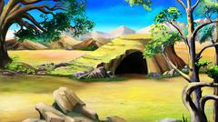 Stone Cave in the African Bush. Day Stock Illustration