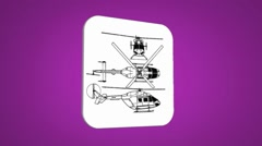 Vector Map intro - Police Helicopter - Transition Blueprint - purple 01 Stock Footage
