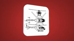 Vector Map intro - Police Helicopter - Transition Blueprint - red 01 Stock Footage