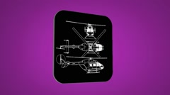 Vector Map intro - Police Helicopter - Transition Blueprint - purple 02 Stock Footage