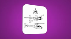 Vector Map intro - Rescue Helicopter - Transition Blueprint - purple 01 - stock footage