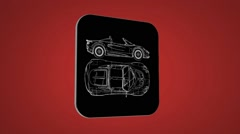 Vector Map intro - Sportscar  - Transition Blueprint - red 02 Stock Footage