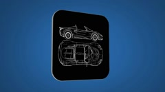 Vector Map intro - Sportscar  - Transition Blueprint - blue 02 Stock Footage