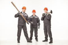 Caucasian young different manual worker collection isolated on white Stock Photos