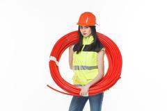 girl uniform coil pipe - stock photo