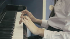 Young Girl Playing Piano in School Class Stock Footage