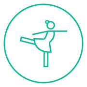 Female figure skater line icon - stock illustration
