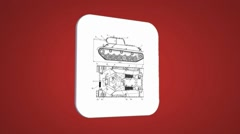 Vector Map intro - Tank - Transition Blueprint - red 01 Stock Footage
