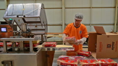 Biscuit packing in the fabric Stock Footage