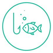 Fish with hook line icon Stock Illustration