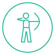 Archer training with bow line icon Stock Illustration